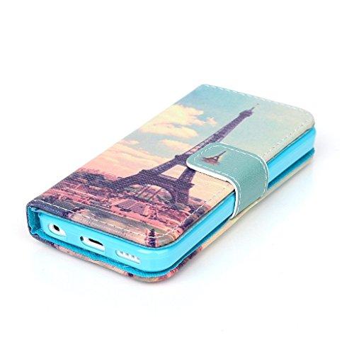Dokpav® iPhone 5C Coque,Ultra Slim Mince Flip PU Cuir Housse Etui Case Cover Avec Intérieur Slip poches pour les cartes- Cerfs vagues bleues Sunset Tower