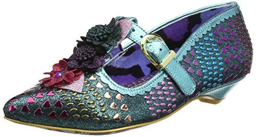 IRRA4|#Irregular Choice Love Scale, Zapatos con Tacon y Tira Vertical para Mujer, Blue B, 4 EU
