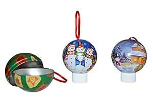 3er set weihnachtskugeln zum ffnen aus metall weihnachtsdeko baumkugeln. Black Bedroom Furniture Sets. Home Design Ideas