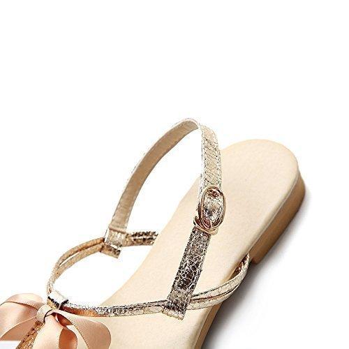Minetom Femme Fille Plate Sandale Perle Bowknot Tongs Chaussure Voyage Plage Été Or