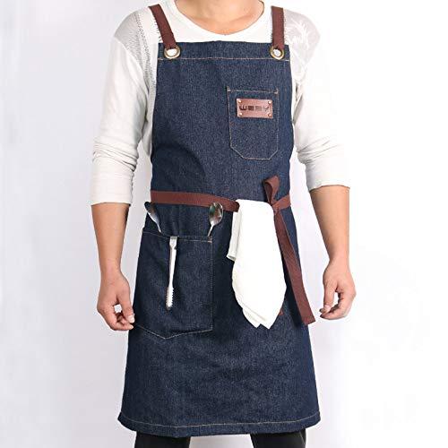 XCVBW Denim Kitchen Kochschürze mit verstellbarem Baumwollband Große Taschen Blau 34x27 Zoll Barista Men and Women Homewear, Blau, 34 x 27 英寸 -
