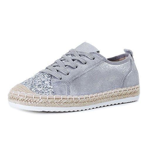 Stylische Damen Low Top Schn眉r Sneaker Schuhe mit Bast in hochwertiger Glitzeroptik Grau