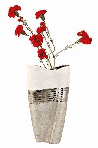 Moderne und große Deko Vase Blumenvase aus Keramik weiß/silber Höhe 35 cm