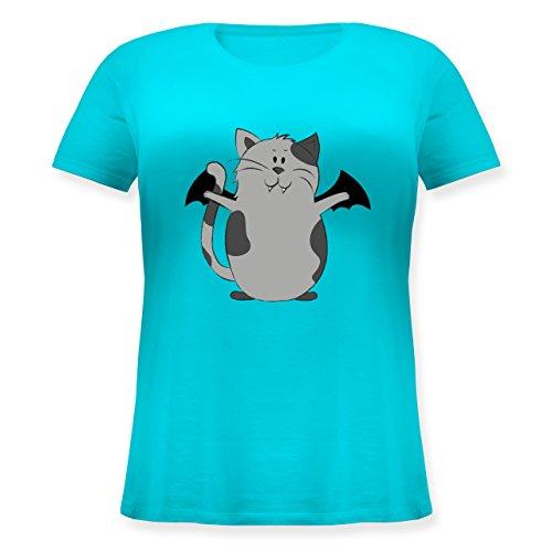Halloween - Katze Halloween - Lockeres Damen-Shirt in Großen Größen mit Rundhalsausschnitt Türkis
