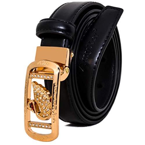 ürtel Dünne Taille Kleid Gürtel Mode Schnalle Gold Metall Mit Strass Gürtel Für Jeans Hosen, Breit 23mm, Ak014, Schwarz, 110cm ()