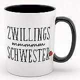 Zwillingsschwester - Kaffeebecher, Tasse mit Motiv - tolles Geschenk für Zwillinge, Geschwister (weiß schwarz)