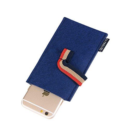 Téléphone Mobile, Felt Case Gris / Fur pour Samsung Galaxy, Huawei, Xiaomi, HTC, LG, Sony, Nokia, iPhone jusqu'à 5 pouces avec Fastener ( Color : Gray ) Blue