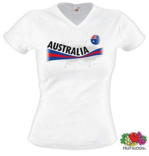Fruit of the Loom Australien Damen T-Shirt Australia Vintage Trikot|w-XS (Australien Damen T-shirt)