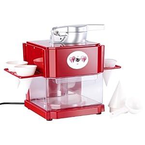 Rosenstein & Söhne Shaved Ice Maschine: Shaved-Ice-Maker mit 4 Kunststoff-Eisbechern, 4 Servierhalter, 90 Watt (Slush Maker)