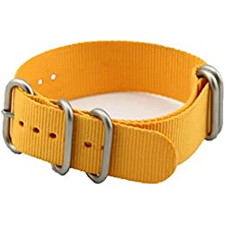 MetaStrap 22mm Nylon Strap Zulu Watch Band with stainless steel buckle(yellow)