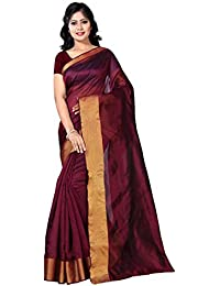 Vimalnath Women's Cotton Silk Solid Woven Saree With Blouse Piece - Bbli6_Maroon_Free Size