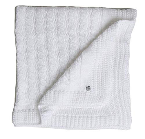 MIinutus Manta de Punto de trenzas para Bebé 100 Cm Blanca (Chero)