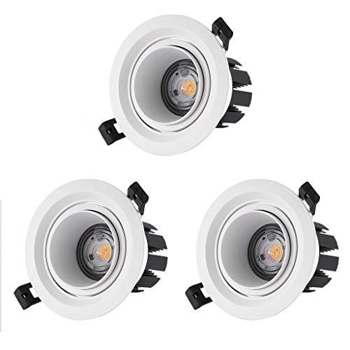 Plafonnier de panneau à encastrer blanc à LED Downlight pour salle de bains, cuisine et bureau (paquet de 3) (Couleur : Lumière blanche-10W Open hole 9-10.5cm)