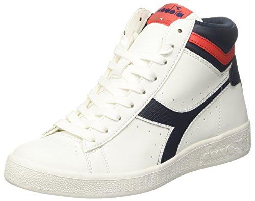 Diadora Alta Adulto Sneaker Bianco Rotolato Misto Tessera Gioco Sporco Ferrar Rosso Blu Profondo Per bco rqExZar