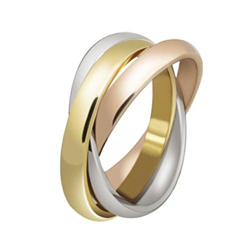 HIJONES Schmuck Damen für Immer Liebes Series Stilvolle Trizyklische Tricolor Ring Größe 57 (18.1) -