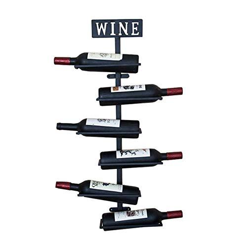 Wand Weinregal Metall Eisen Wein Glas Rack Vintage Weinflaschenhalter Storage Stand Home und Küche Dekor,schwarz 80 * 25 * 10 cm -