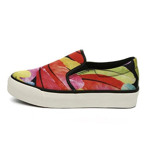 Printemps Le Fu, chaussures à semelles épaisses/Toile graffiti/ imprimer chaussures plate-forme/Chaussures de loisirs coréen B