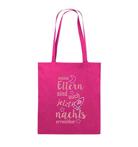 Comedy Bags - Meine Eltern sind jetzt auch nachts erreichbar. - Jutebeutel - lange Henkel - 38x42cm - Farbe: Weiss / Schwarz-Rot Pink / Rosa-Weiss