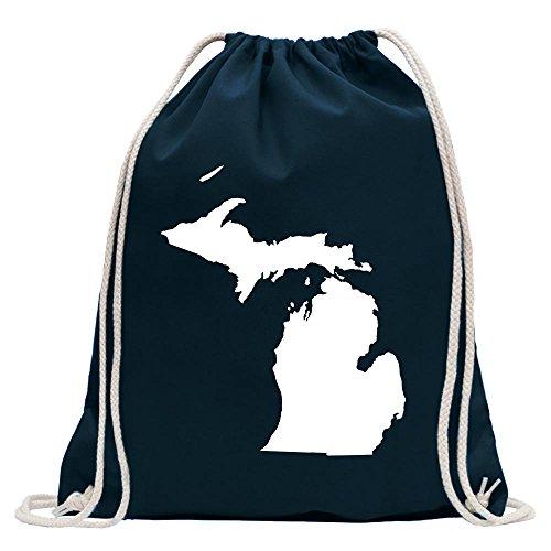 Kiwistar USA - Bundesstaat - Michigan Turnbeutel Fun Rucksack Sport Beutel Gymsack Baumwolle mit Ziehgurt
