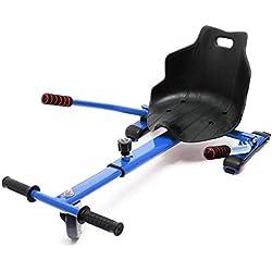 WilTec Asiento Kart Patinete eléctrico Azul Hoverboard Hoverkart Hoverseat Patín Go-Kart Niños Diversión