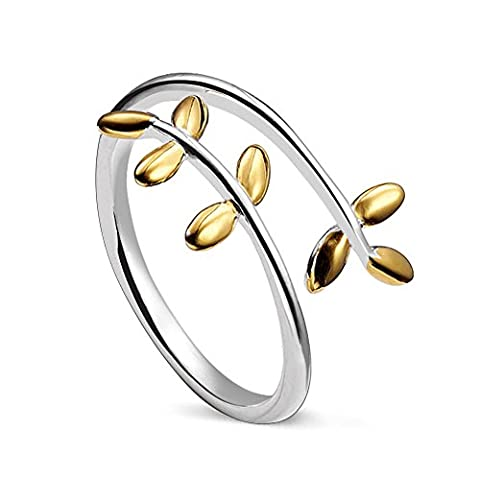 Sweetiee 925 Sterling Silver Ring with 18K Gold Plated Laurel Wreath 17.5mm Adjustable for Girls