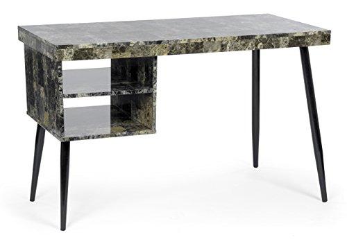 Tisch Schreibtisch Bürotisch PC-Tisch Computer Arbeitstisch Konsole MDF Marmoroptik Betonoptik 2 Fächer schwarze Tischbeine Arbeitszimmer ()