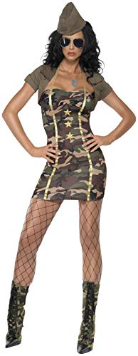 Smiffys, Fever, Damen Major Trouble Kostüm, Kleid, Bolero und Hut, Größe: XS, 35332 (Frauen's Army Fancy Dress Kostüm)