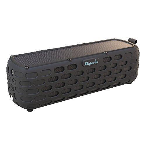 Solar-Bluetooth-Lautsprecher, CYBORIS 30 Stunden Spielzeit verbesserte Wireless-HiFi-Portable Bluetooth 4.0 Stereo-Lautsprecher Solar Powered Stoßfest und wasserdicht für Outdoor-Kletter (Schwarz)