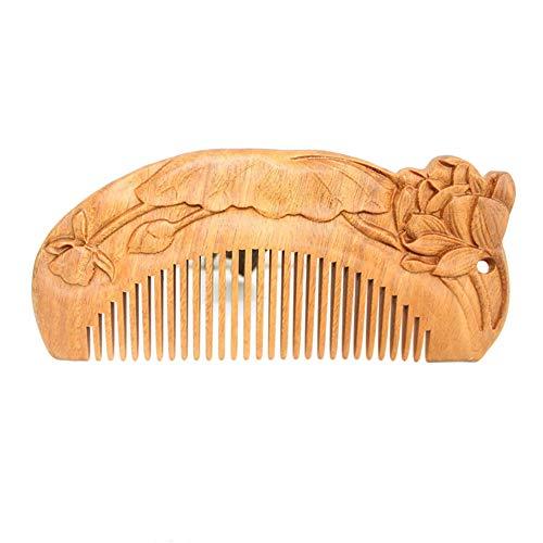 Gerade Kamm Hölzern Doppelseitige Skulptur Massage Kopfhaut Antistatisch Entwirren Frau Styling-Werkzeuge Haushalt Vermeide Tangles Gewellt Beschädigt Modellieren Kinder Pflegebürste Lotus,Qinglian
