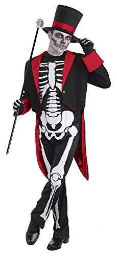 Bristol Novelty AC437 Costume da Scheletro Mister Bone Jangles, Rosso