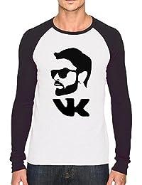Bookmytees Virat Kohli Fan Art Printed Full Sleeves Cotton T-shirt For Men