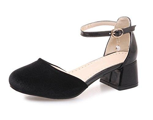 Aisun Damen Retro Samt Blockabsatz Perlen Knöchelriemchen Sandale mit Schnalle Schwarz 35 EU (Schritt Sandalen Frühling Klassische)