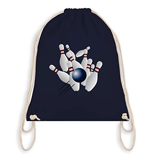 Bowling & Kegeln - Bowling Strike Pins Ball - Unisize - Navy Blau - WM110 - Turnbeutel & Gym Bag