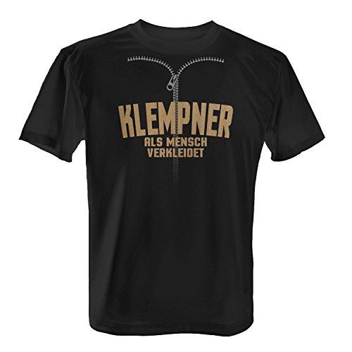 (Fashionalarm Herren T-Shirt - Klempner Als Mensch Verkleidet | Fun Shirt mit Spruch | Verkleidung Kostüm Karneval Fasching Rosenmontag Halloween, Farbe:Schwarz;Größe:4XL)
