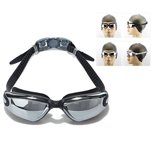 Itian Lunettes de natation avec Réglage Silicone Head Strap - Anti-brouillard, étanche, Protection UV - Idéales pour Hommes, Femmes et Enfants (Noir)