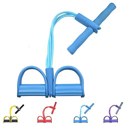 Gfung - Cuerda para ejercitar piernas, 4 Tubos, multifunción, para Yoga, Fitness, Pedal, dominadas, Culturismo, etc. Bandas de Ejercicio de Resistencia para Gimnasio en casa (Azul)