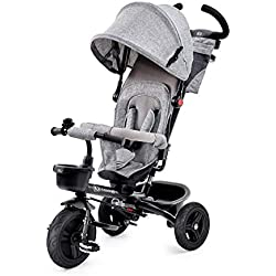 Kinderkraft Tricycle Enfant Évolutif AVEO, 9 mois à 5 ans, Accesoires, Gris