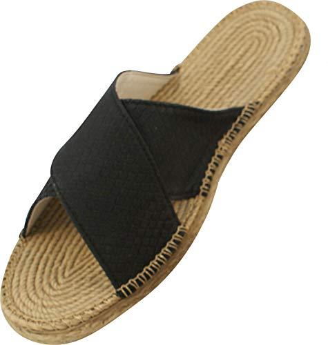 Siebi's Matera Strand-und Badeschuh Pantolette in Bastoptik für Damen und Extra Leicht: Größe: 39 EU | Farbe: Schwarz