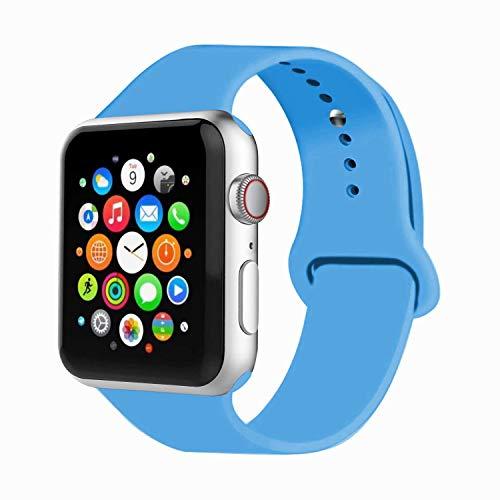 Iyou per cinturino apple watch 38mm 42mm, cinturino di ricambio in silicone morbido braccialetto strap per iwatch apple watch series 3/2/1, edition, (38mm m/l, blu)