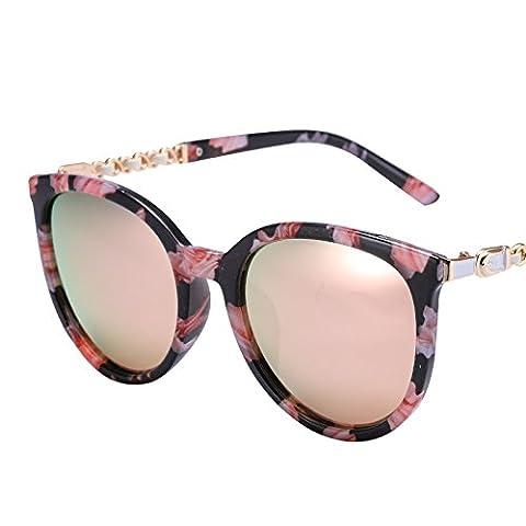 LXKMTYJ Chaîne en métal rétro lunettes Fashion Sakura Le polariseur Toner à la conduite Offset miroir lunettes optiques, Rose Champagne