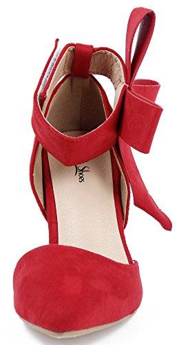 AgeeMi Shoes Damen Spitz Schließen Zehe Sexy High Heels Stilettos mit Schleife Rot
