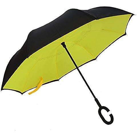 Marcha atrás Paraguas Cartabón reverso Monocromática plana doble c-manos libres-respaldo inversa paraguas paraguas ,Carmine