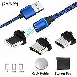 Magnetico cavo di ricarica USB, multi 3-in-1cavo caricatore con adattatori di ricarica LED per Android, più micro-l-type c-no sincronizzazione dati.Ricarica veloce 2M/6.6ft 3/Blue