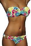 ALZORA Twist Push Up Bandeau Bikini Set Damen Pushup Badeanzug viele Farben und Größen (M, Gelb)