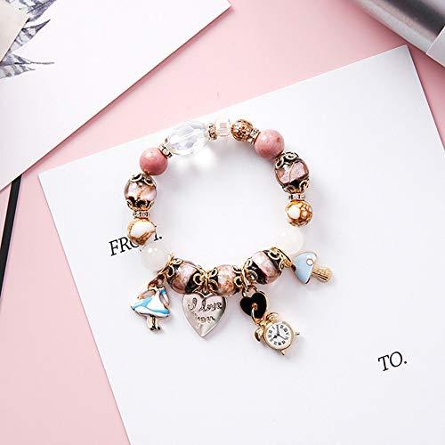 ZGRJIUERYI Armband,Mädchenuhr-Liebesbrief-Verschlussarmband Der Böhmischen Ethnischen Art, Kreatives Perlenbesetztes Armbandarmband Der Rosa Glasperlen, Personalisierter Kleidungszusatzschmuck