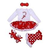 YuanDian Baby Mädchen 4tlg Kleid Weihnachten Bekleidung Set Neugeborenes Outfit Kleinkind Weihnachtskostüm Strampler Body Kleid + Stirnband + Beinwärmer + Schuhe Babykleidung 1# Krücke 0-3 Monate
