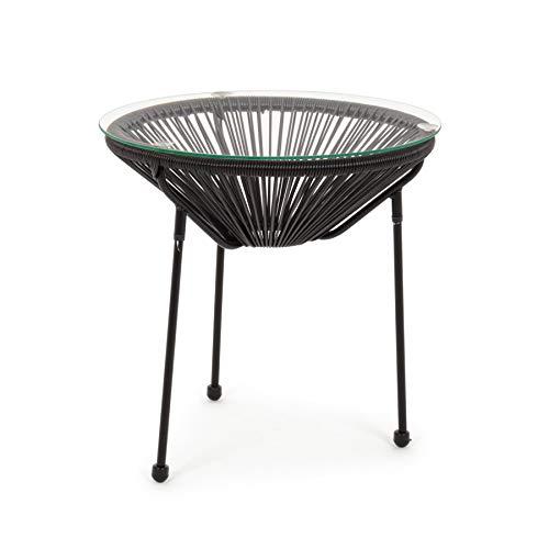 ARREDinITALY Table Basse d'extérieur en métal avec Plateau en Verre et Cordes Noires