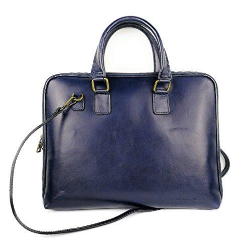 Zerimar Damen Leder Aktentasche Umhängetasche mit großer Kapazität Weiches Leder laptop leder tasche frau Tasche für Dokumente Farbe marineblau Größe 36x28x6 cm.