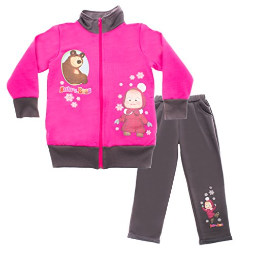 Mascha und der Bär Mädchen SPORT-ANZUG, GEFÜTTERT, zweiteilig, Sweat-Jacke mit langer Hose, GRÖSSE 92, 98, 104, 110, 116, 122, Jogging-Anzug, Freizeit-Anzug in pink und grau Size 122