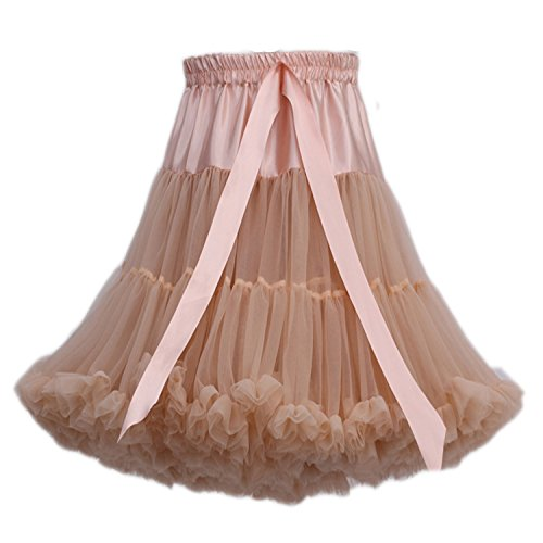 FOLOBE erwachsene luxuriöse weiche Chiffon Petticoat Tüll Tutu Rock Damen Tutu Kostüm Ballett Tanz Multi-Layer Puffy (Kostüme Chiffon Tanz)
